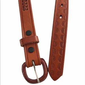 RM Brown Cognac Leather Belt Tooled Braided Sz 38